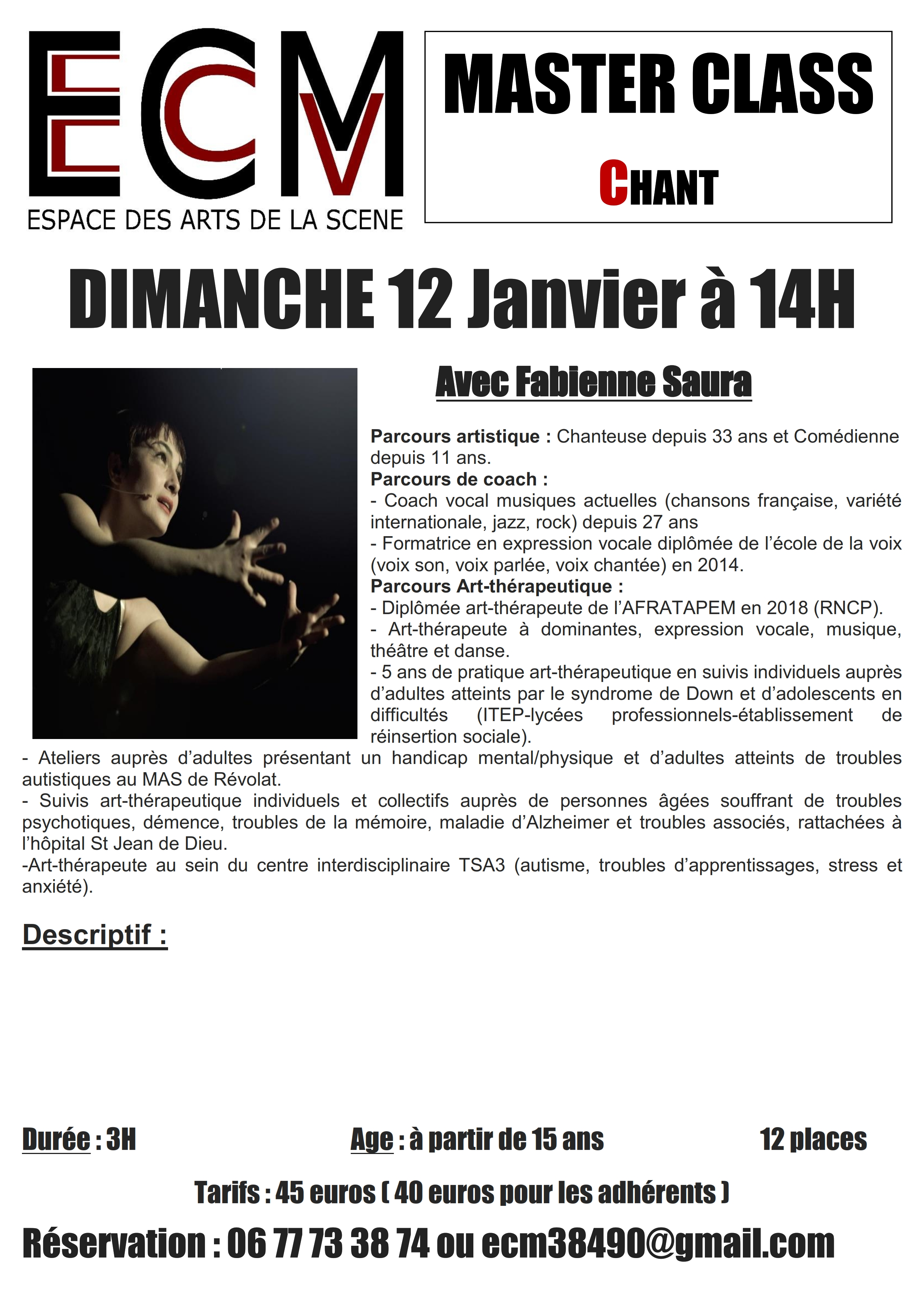 master class stage chant espace comedie musicale ECM