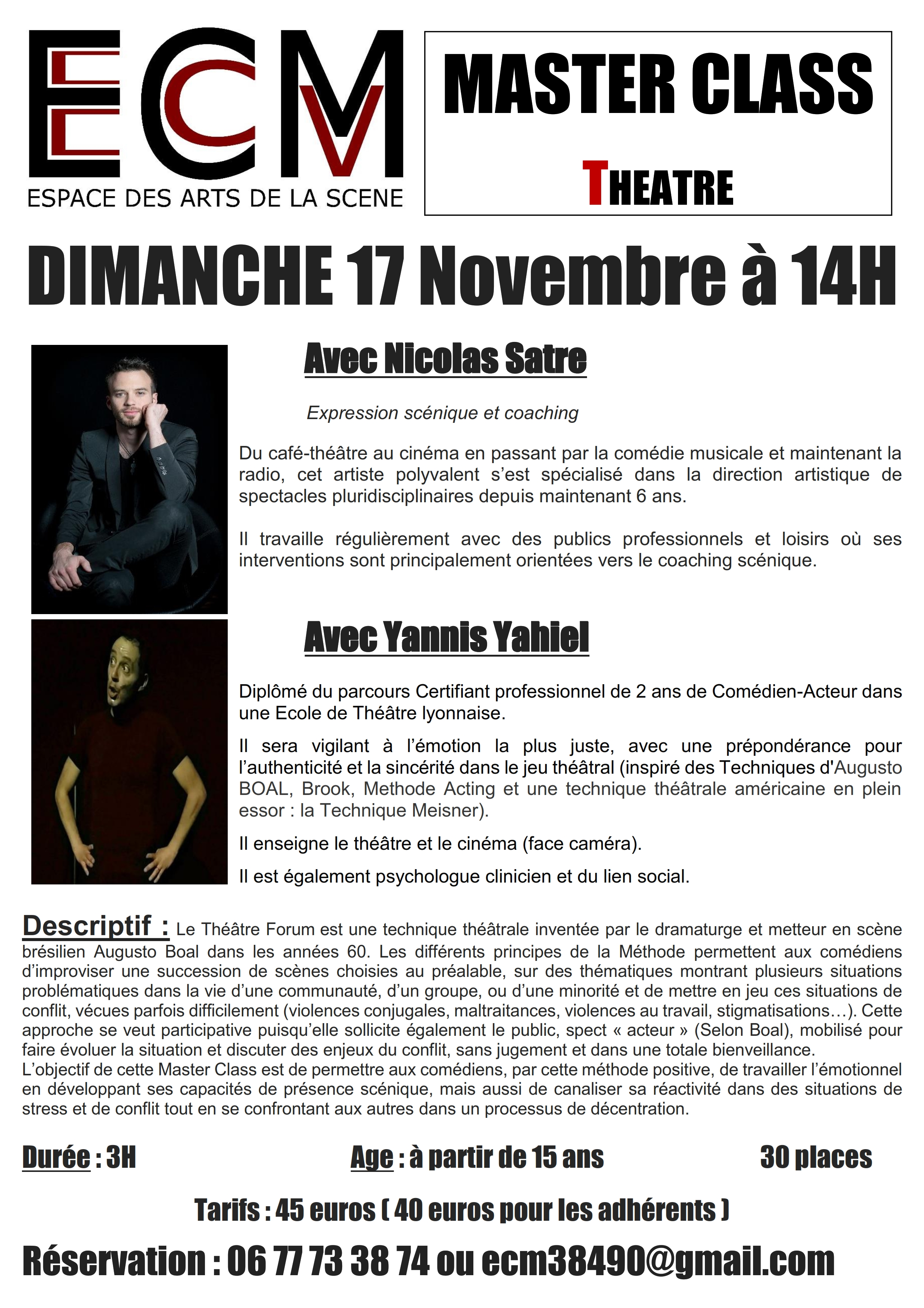 master class stage theatre espace comedie musicale ECM
